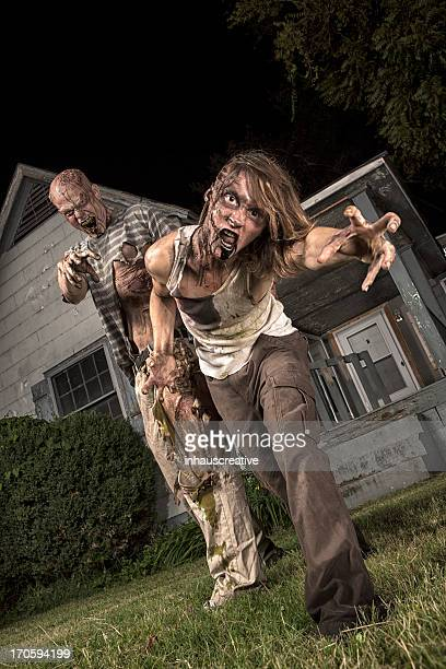 Pictures of Real Classic Zombies Outside an Old Farmhouse