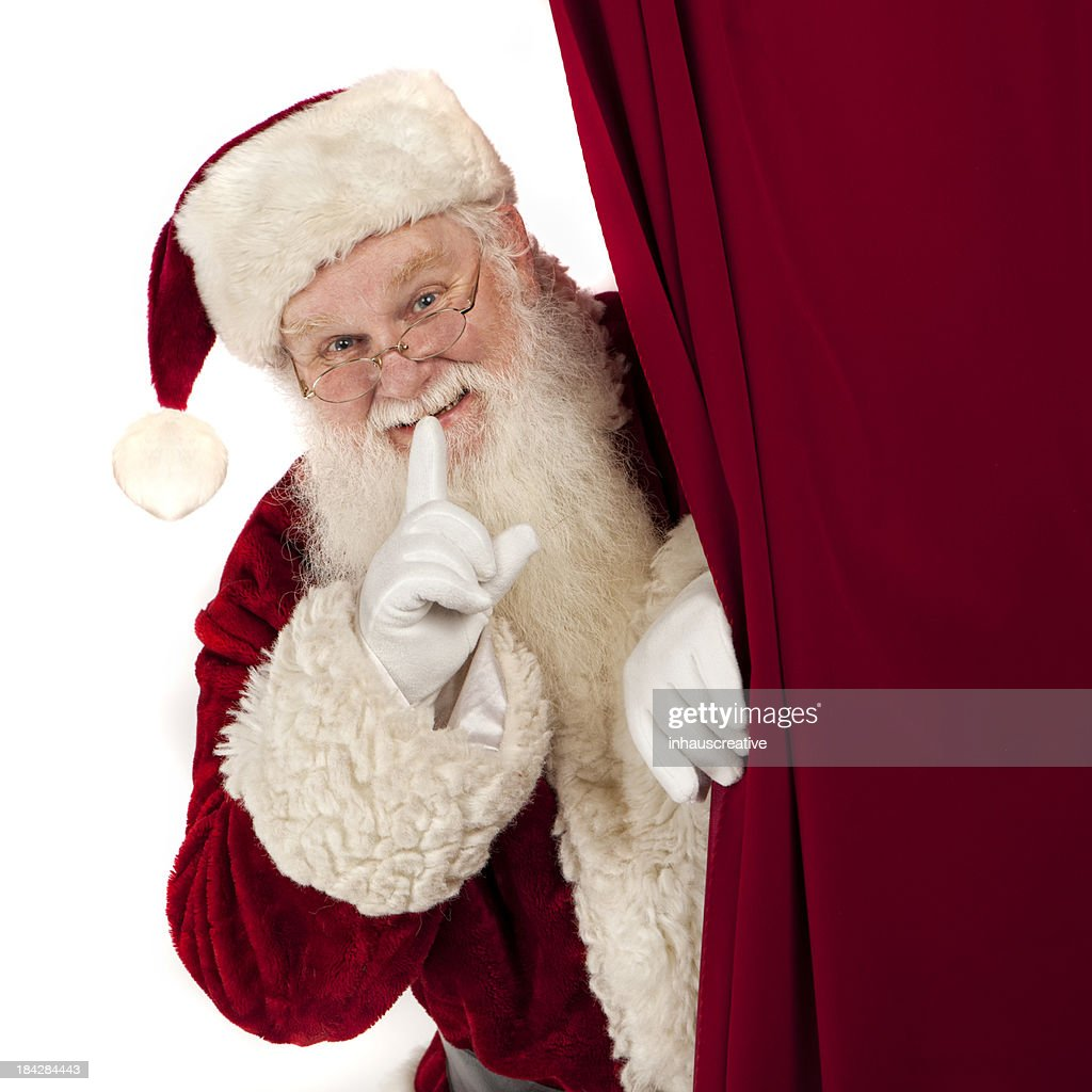 pictures of real santa claus showing you behind the curtain stock