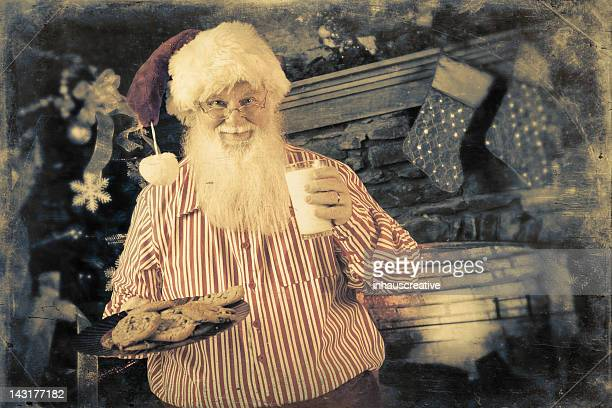 Pictures of Real Santa Claus with milk and cookies
