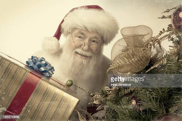 Pictures of Real Vintage Santa Claus bringing presents
