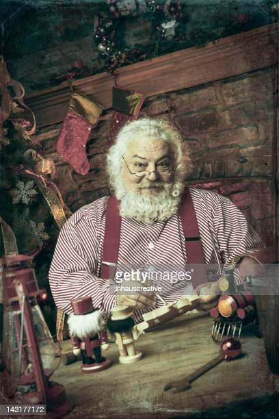 Pictures of Real Vintage Santa Claus in his workshop