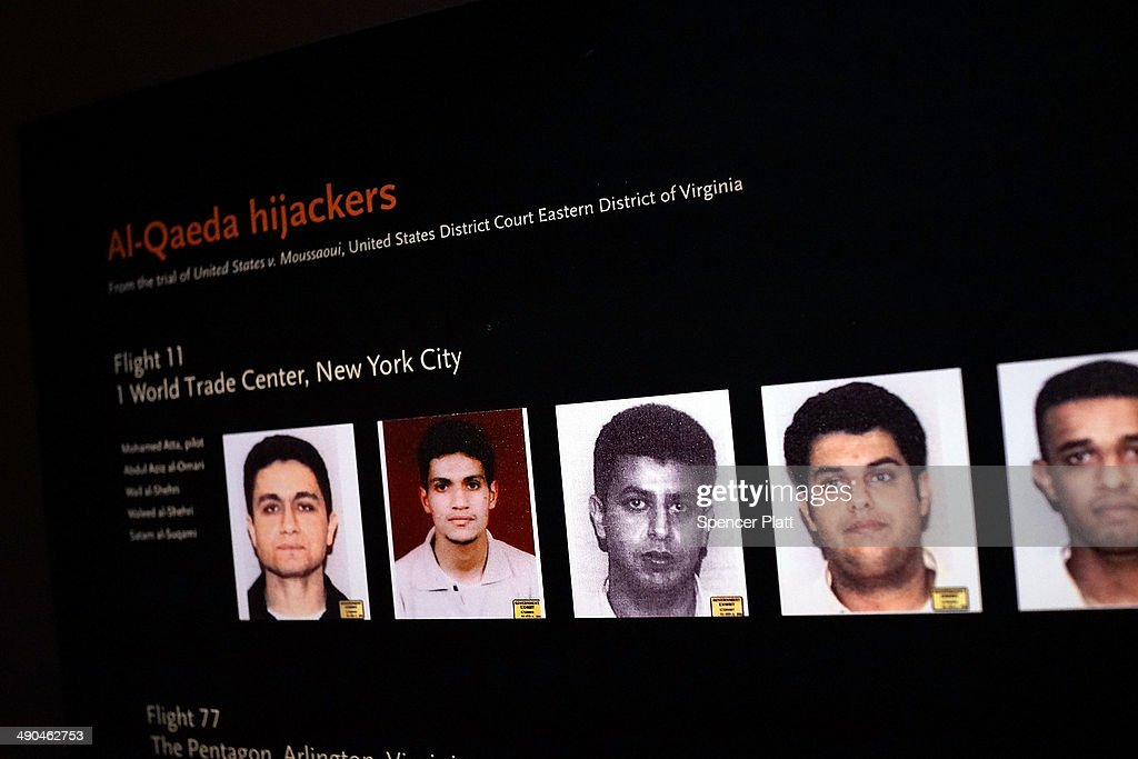Pictures of some of the September 11 hijackers are viewed during a preview of the National September 11 Memorial Museum on May 14, 2014 in New York City. The long awaited museum will open to the public on May 21 following a six-day dedication period for 9/11 families, survivors, first responders, workers, and local city residents. For the dedication period the doors to the museum will be open for 24-hours a day from May 15 through May 20. On Thursday President Barack Obama and the first lady will attend the dedication ceremony for the opening of the museum. While the construction of the museum has often been fraught with politics and controversy, the exhibitions and displays seek to pay tribute to the 2,983 victims of the 9/11 attacks and the 1993 bombing while also educating the public on the September 11 attacks on the World Trade Center, the Pentagon and in Pennsylvania.