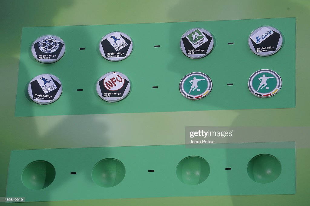 Pictures of the DFB expulsion draw during the third league match between FC Hansa Rostock and RB Leipzig at DKB Arena on April 26 2014 in Rostock...