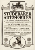 Pictures of two Studebaker electric automobiles appear in a magazine advertisement dated 1904 The ad describes the eclectric models as 'The most...