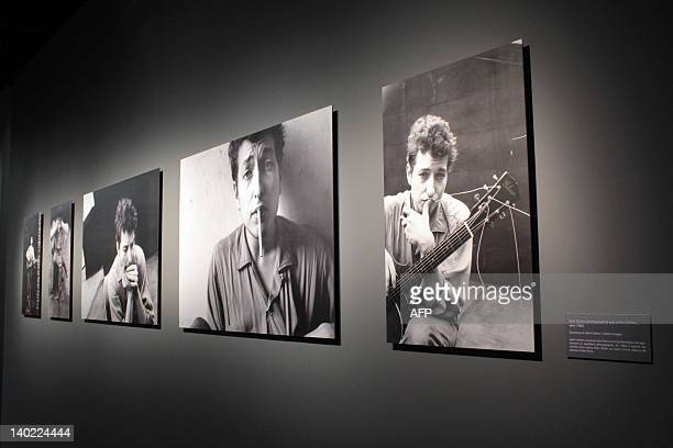 Pictures of US singer and songwriter Bob Dylan are displayed on March 1 2012 at the Cite de la Musique during a exhibition recounted five decisive...