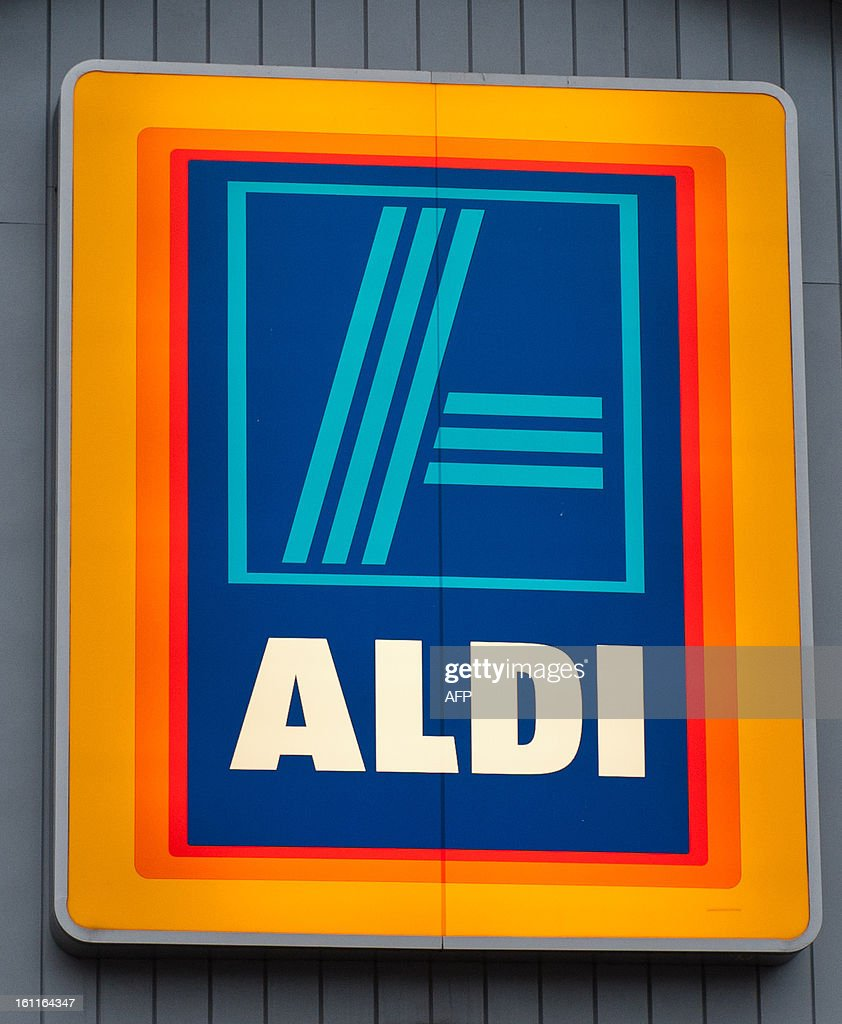 A pictures shows the logo signage on the front of a branch of British food retailer Aldi in London on February 9, 2013. The British supermarket chain Aldi voiced anger on February 8 after finding that two of its own brand frozen ready meal ranges -- beef lasagne and spaghetti bolognese -- contained between 30 and 100 percent horsemeat. The meals were all produced in Luxembourg for French supplier Comigel, which said the horsemeat used originally came from a Romanian abattoir via a meat-processing firm called Spanghero in southwest France.
