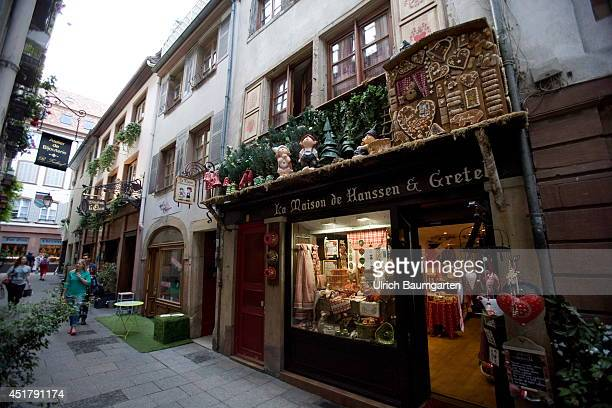 Picturesque alley with Hänsel and Gretel house in the Strasbourg City center on July 03 2014 in Strasbourg France