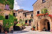 Picturesque corner of a quaint hill town in Italy