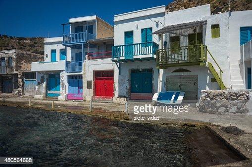 Picturesque fishing village of Klima on the island of Milos : Stock Photo