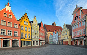 Picturesque medieval gothic houses in old bavarian town Landshut near Munich, Germany
