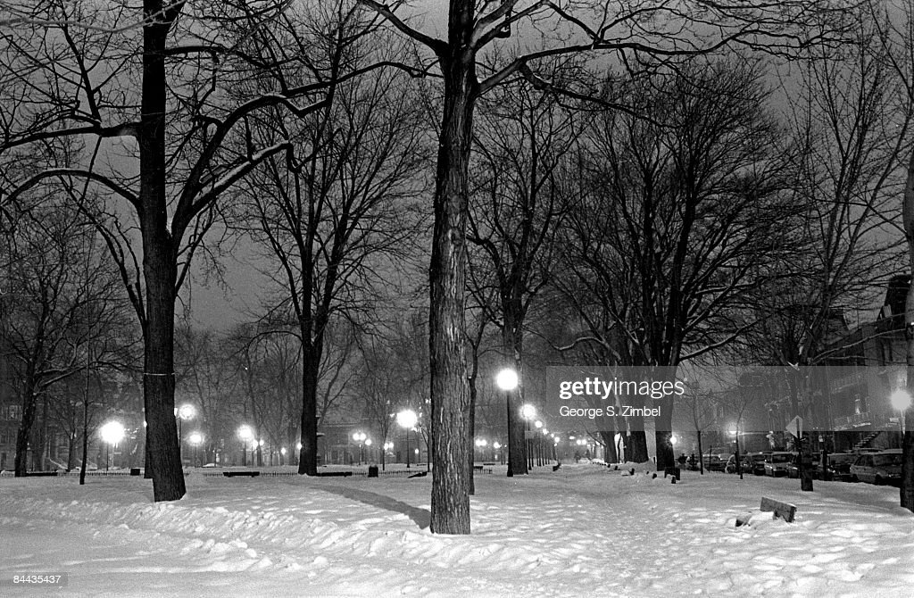 A picturesque, night time view of St. Louis Square in Montreal, Canada after a winter snowfall, 1993.