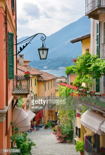 Picturesque small town street view in Lake Como Italy : Stock Photo