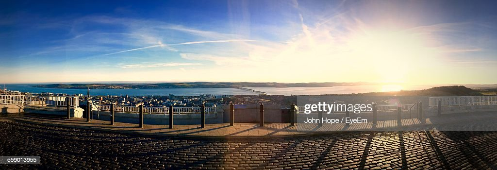 Picturesque Townscape Overlooking Calm Sea