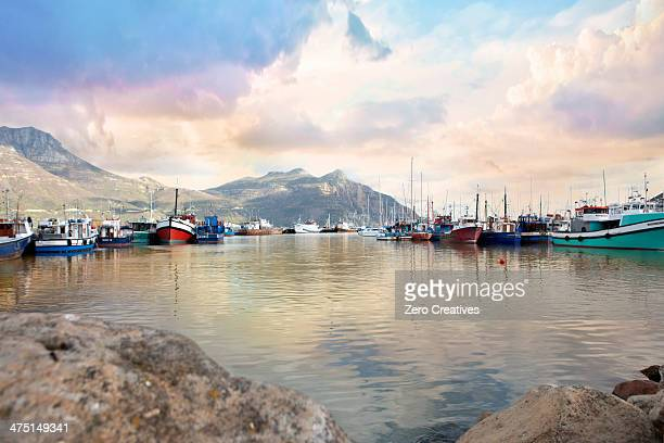 Picturesque view of boats, Hout Bay, Cape Town, South Africa