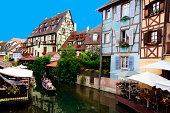 Picturesque view of the area known as Petite Venise in the village of Colmar Alsace