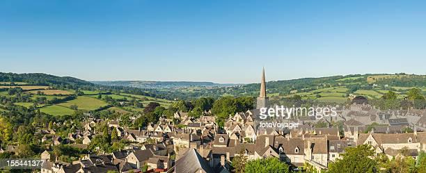 Picturesque village idyllic summer rural landscape aerial panorama