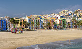 Picturesque Villajoyosa on the Mediterranean coast in Southern Spain is a popular destination due to its colorful beach homes and sandy beaches
