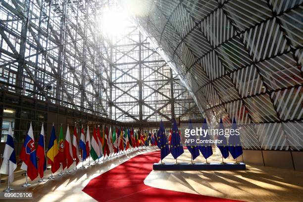 A picure taken on June 22 2017 in Brussels shows an inside view of the Europa Building the main headquarters of European Council in Brussels / AFP...