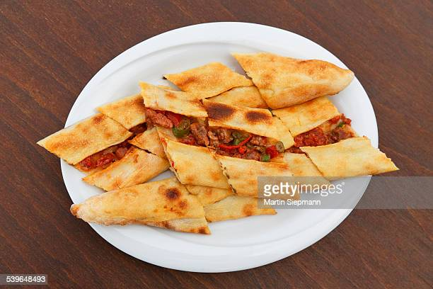 Pide bread with meat, Turkey