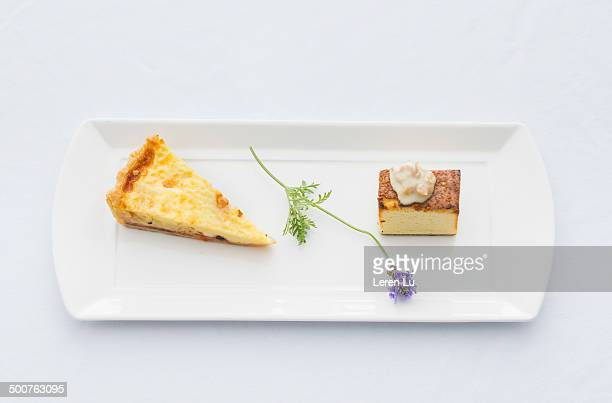 Pie and cake on white plate