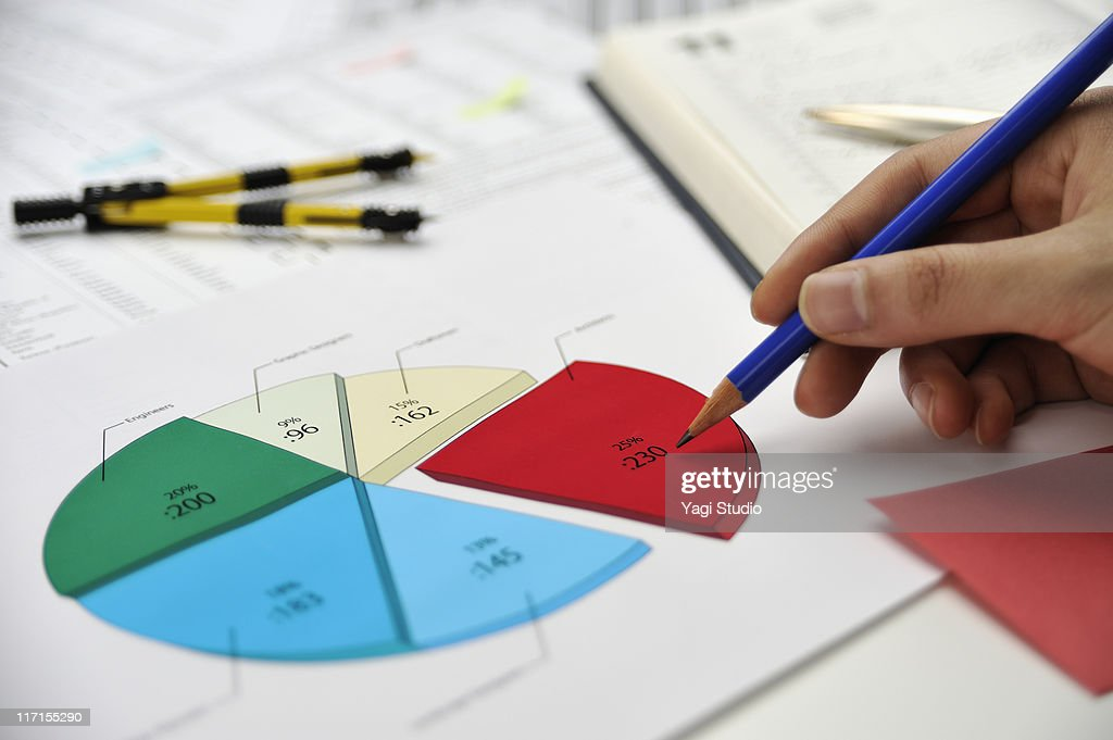 Pie chart and pencil : Stock Photo