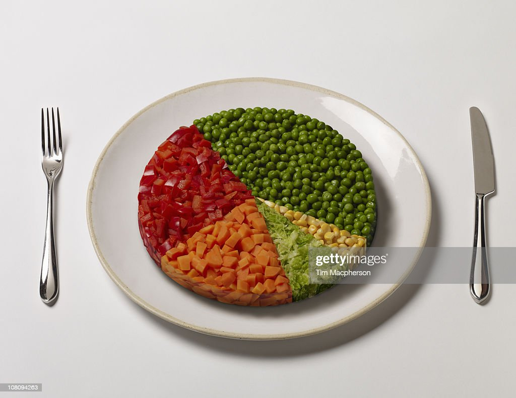 Pie chart made of vegetables : Stock Photo