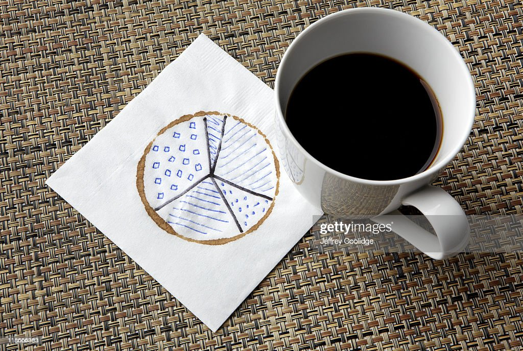 Pie Chart on Napkin : Stock Photo