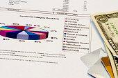 Pie chart with money