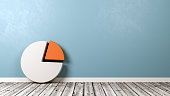 Pie Diagram Symbol Shape on Wooden Floor Against Blue Wall with Copyspace 3D Illustration
