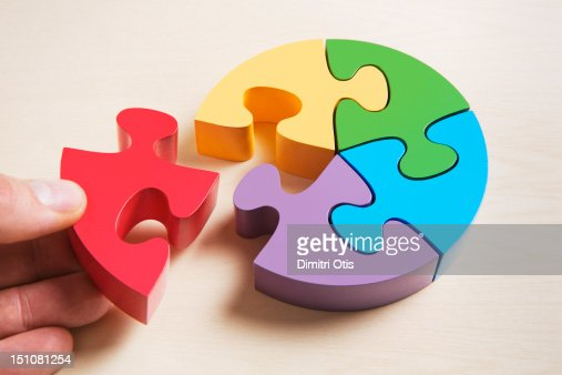 Pie shaped puzzle, hand positioning last piece