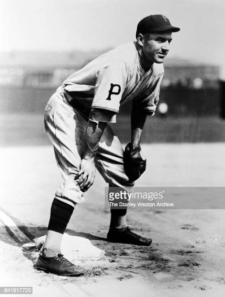 Pie Traynor third baseman of the Pittsburgh Pirates is shown playing third base circa 1925