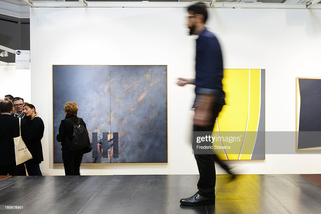 A piece by Italian artist Francesca Arena entitled 'Surface with line' is seen at the Grand Palais as part of the exhibition of the FIAC International Contemporary Art Fair on October 25, 2013 in Paris, France. This is the 40th anniversary edition of