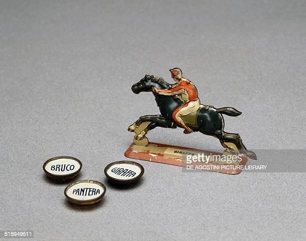 Piece for race game with dice Palio di Siena Metalgraf Milan 20th century Milan Museo Del Giocattolo E Del Bambino