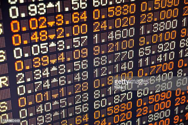 A piece of a board of a stock exchange