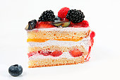 piece of cake with fresh berries on white background