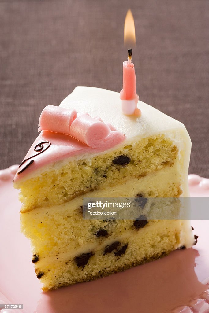 Birthday Cake Pieces Images ~ Piece of birthday cake with candle stock photo getty images