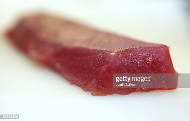 A piece of Bluefin Tuna sits on the counter at Yum Yum Fish March 19 2010 in San Francisco California United Nations delegates at a conference on...
