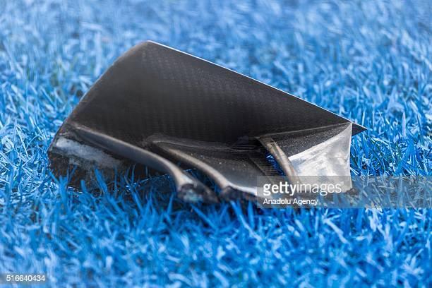 A piece of broken carbon fibre wing during the 2016 Formula 1 Rolex Australian Grand Prix at Albert Park circuit Melbourne Australia on March 20 2016