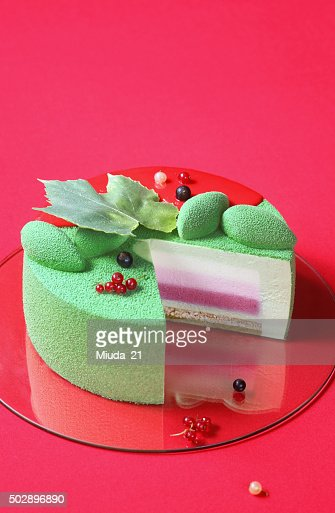 Piece of Celebration (Christmas) Matcha and Currants Mousse Cake : Stock Photo