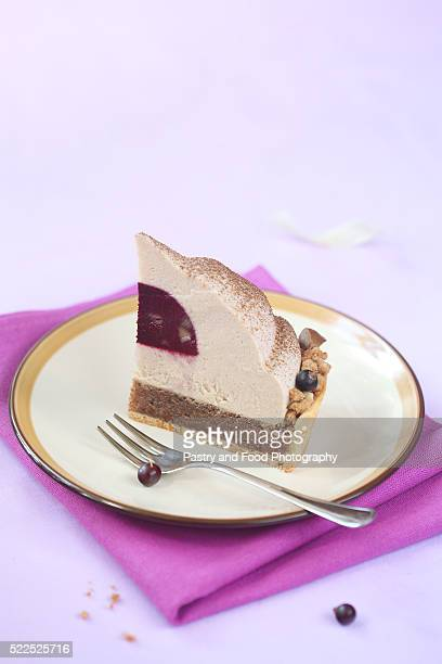 Piece of Chestnut and Blackcurrant Entremet Cake