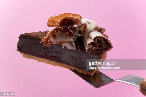 Piece of chocolate tart on cake server