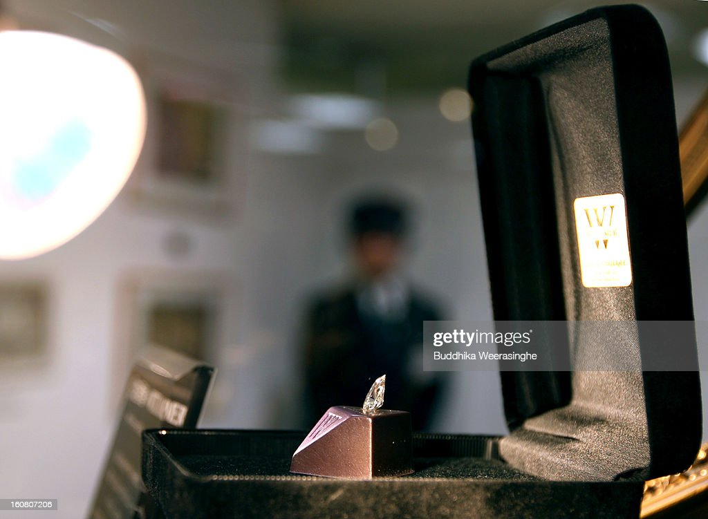 A piece of diamond shape chocolate with a 2.3 carat diamond in the centre on display at a Hanshin Department Store on February 6, 2013 in Osaka, Japan. The chocolate is priced at 3 million yen (about USD 32,456), making it the world's most expensive chocolate.