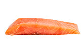 Piece of fillet red fish isolated on white.