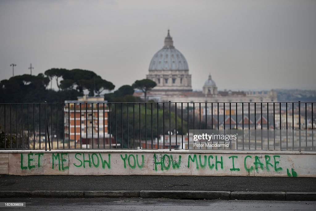 A piece of graffiti adorns a wall in sight of Vatican City on February 25, 2013 in Rome, Italy. The Pontiff will hold his last weekly public audience on February 27, 2013 before he retires the following day. Pope Benedict XVI has been the leader of the Catholic Church for eight years and is the first Pope to retire since 1415. He cites ailing health as his reason for retirement and will spend the rest of his life in solitude away from public engagements