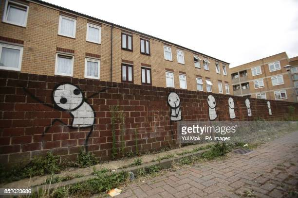 A piece of graffiti on the side of a wall in Dalston east London by street artist Stik