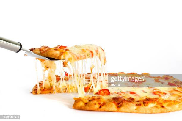 Piece of pizza being served for eating
