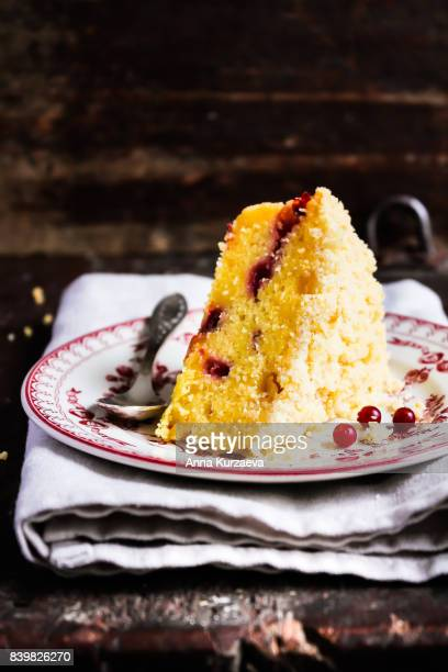 Piece of pound crumb lemon cake with fresh berry on a dessert plate, selective focus