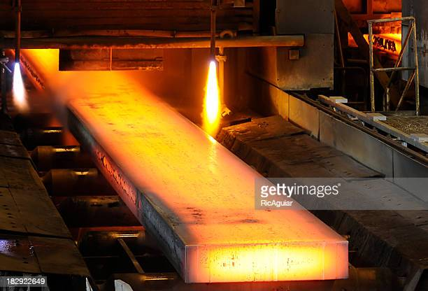 Piece of steel being worked on in a mill