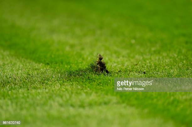 A piece of the pitch has been torn during the Allsvenskan match between AIK and Jonkopings Sodra IF at Friends Arena on October 15 2017 in Solna...