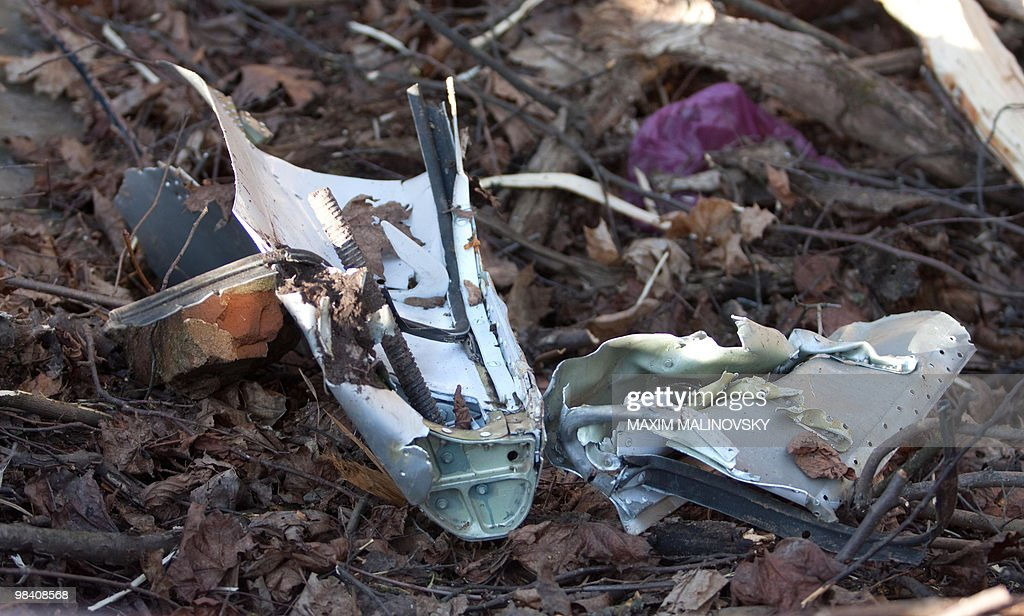 A piece of the wreckage of a Polish government Tupolev Tu154 aircraft that crashed lies on the ground near Smolensk airport April 10 2010 A plane...